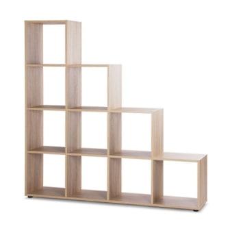 """כוורת מדפים בצורת מדרגות. 10 תאים.   עשוי MDF, רגליים מפלסטיק.   מידות: 155*156 ס""""מ, עומק 33 ס""""מ.   צבעים לבחירה: אלון חום, אלון מולבן.   תוצרת גרמניה."""