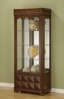 """ויטרינה עץ מלא וזכוכית מעוצבת דמוי עתיק לסלון.   דלת זכוכית עם מסגרת עץ, במה איכותית ויציבה ו 3 מדפים מזכוכית.   בחלק תחתון 2 מגירות נשלפות, לאחסון.   צבע חום דובדבן בסגנון של פעם.   מידות:   גובה - 183 ס""""מ.   רוחב - 76 ס""""מ.   עומק - 41 ס""""מ."""