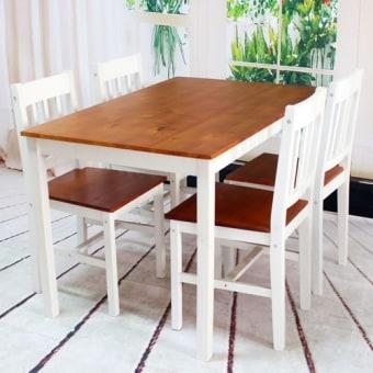"""פינת אוכל מעץ מלא , הכוללת שולחן עם 4 כיסאות.   שולחן אוכל בעיצוב אלגנטי וקליל עם 4 כסאות   ✶השולחן והכסאות עשויים מעץ מלא   ✶הכסאות גבוהים ומרווחים   ✶המושב גם הוא עשוי מעץ מלא וחזק   ✶הכסאות קלים להזזה   ✶ניתן לסדר את הכסאות כזוג מול זוג   ✶גוון: שילוב של גוון דבש עם לבן   מידות   :   שולחן: 108 על 65 ס""""מ, גובה 73 ס""""מ   כסא: גובה 85 ס""""מ, גובה מושב 41 ס""""מ, עומק 41.5 ס""""מ, רוחב 41.5 ס''מ"""
