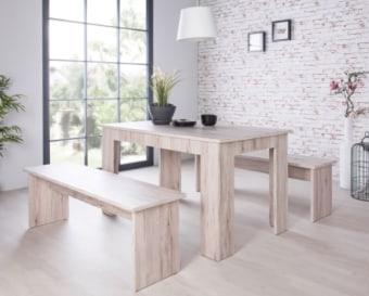 """פינת אוכל אופנתי כוללת שולחן ושני ספסלים.   עשוי MDF ועץ סנדביץ'.   מידות שולחן: 160*90 ס""""מ, גובה 75 ס""""מ.   מידות ספסלים: 160*37 ס""""מ, גובה 45 ס""""מ   גימור אלון.   צבעים לבחירה: אלון SORRENTO , אלון SONOMA.   תוצרת גרמניה."""