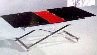 """שולחן טרנספורמר-זכוכית, נפתח, יורד ועולה.   ניתן לשימוש כשולחן אוכל או שולחן סלון.   צבעים לבחירה: שחור, לבן , שחור-אדום   מידות :   רוחב: 75 ס""""מ.   אורך: 120 ס""""מ, נפתח עד 150 ס''מ.   גובה: 45 ס''מ, עולה עד 76 ס''מ."""