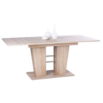 """שולחן לפינת אוכל בעיצוב מיוחד.  עשוי סיבית וMDF, צבע אלון.  מידות: 140*90,  נפתח ל180 ס""""מ,  גובה 75 ס""""מ.  ניתן להוסיף כסאות בתוספת תשלום.  כסא לפינת אוכל דגם CITY  .  מרופד דמוי עור קשיח.  בסיס מתכת. ישיבה נוחה מאוד.  קל לניקוי ואחסנה.  צבעים לבחירה  : שחור, בז', לבן.  מידות  : 42.5* 48 ס""""מ, עומק מושב 40, גובה משענת 49, גובה כסא 90, גובה מושב 44 ס""""מ.  מגיע מורכב.  ——————————————-  כסא מעוצב לפינת אוכל KALINA  כסא לפינת אוכל מעוצב.  נוח לישיבה ומאוד יציב.  רגליים מעץ מלא, מושב מרופד דמוי עור.  צבעים  לבחירה: אפור, בז', לבן.  מידות  : רוחב 41, עומק 43, גובה 88, גובה מושב 44 ס""""מ.  הרכבה עצמית פשוטה."""