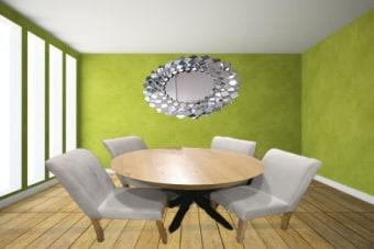 """פינת אוכל ספיידר    רגליים מתכת חזקות ויציבות    פלטה אלון(ניתן לשנות צבע)    כולל 4 כסאות ספיידר(ניתן להזמין במגוון צבעים ובדים)    כסא נוסף 500 ש""""ח    קוטר 1.20 מ' פתיחה 70 ס""""מ    ניתן להזמין קוטר 1.30 מ' פתיחה 80 ס""""מ בתוספת 200 ש""""ח,קוטר 1.40 מ' פתיחה 90 ס""""מ בתוספת 300 ש""""ח.    אפוקסי בתוספת 800 ש""""ח    בחירת בד וצבע"""