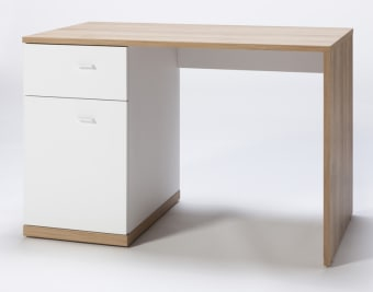 """שולחן מחשב , דגם """"דני"""" מגיע עם מגירה ותא אחסון צדדי .  תוצרת איטליה  בעל גימור בצבע לבן ואלון.  מידות:  גובה 74 ס""""מ  רוחב: 110 ס""""מ  עומק: 60 ס""""מ"""