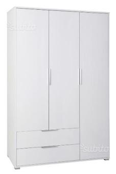 """ארון דגם """"רקפת"""" שלוש דלתות בצבע לבן עם ידיות מתכת , תוצרת איטליה.  הארון מגיע עם 2 מגירות , מוט תלייה ומדפים.  עשוי ממלמין יצוק , תוצרת איטליה.  מידות  גובה: 183 ס""""מ  רוחב: 118 ש""""ח  עומק: 51 ס""""מ"""