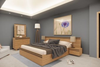 חדר שינה מרשל  עשוי MDF אירופאי בציפוי פורניר אלון .  מגירות סנדוויץ פורמייקה.  משטח מיטה עץ מלא.  מסילות אינטגרליות טריקה שקטה .  כולל : מיטה זוגית 140/190 או 160/190  שתי שידות לילה  קומודה 4 מגירות + המראה 100/100  [מראה צמודה לקומודה ללא תליה על הקיר]   גובה  רוחב  עומק/אורך  מיטה  1120  240  2050  שידה  410  600  400  קומודה מגירות  760  1200  400