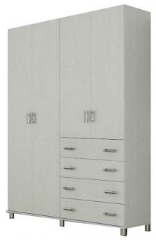 """ארון 4 דלתות וארבע מגירות דגם  LIAM  .  הארון עשוי שבבית מצופה מלמין במבחר גוונים.  כל מרכיבי הארון עשויים מחומרים בעלי תו תקן ישראלי.  מידות  :  רוחב 160 ס""""מ, גובה 240 ס""""מ, עומק 55 ס""""מ  עומק המדפים 46 ס""""מ, עומק המגרות: 35 ס""""מ.  סידור פנים: סידור פנימי הכולל תלייה בשני הצדדים ומדפים.  ניתן להזמין במידות שונות בתוספת מחיר (ארון בעל 7 דלתות או יותר יסופק בשני חלקים).  ניתן לשלב מגירות בגוונים בתוספת מחיר.  לא ניתן לפתוח את דלת הארון יחד עם המגירה שמתחתיה.  הידיות בתמונה להמחשה בלבד, יסופק עם ידיות שבמלאי.  ניתן לשדרג את  הידיות  בתשלום."""