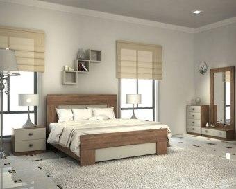 """חדר שינה דגם  COUNTRY  הכולל: מיטה זוגית  140X190, שתי שידות לילה , 2 קומודות ומראה  העשויים  MDF  קנדי בציפוי מלמין במבחר גוונים.  משטח המיטה עשוי עץ אורן מלא על רגלי מתכת.  מרכיבי המיטה והשידות עשויים מחומרים בעלי תו תקן ישראלי.  מידות חיצוניות בס""""מ:  מיטה: 150X200 גובה ראש המיטה 110 (מתאימה למזרן 140X190)  שידת לילה: 49X39 גובה 46  שידת מראה ומגירה: 87X39 גובה 27.5  קומודה 4 מגירות: 49X39 גובה 77.5  מראה: 84.5X171  ניתן להזמין את המיטה במידות שונות, ניתן להוסיף ארגז מצעים פנאומטי וניתן גם להזמין מיטות נפרדות עם או בלי ארגזי מצעים, בתוספת מחיר.  ניתן להוסיף מזרנים בתוספת מחיר.  במידה ובחרתם להוסיף למיטה ארגז מצעים מתרומם: שימו לב כי אם המזרן המונח על המיטה כבד במיוחד, הארגז לא ישאר פתוח, אלא בעזרת מתן תמיכה עם היד.  ארגז מצעים רגיל מורכב ממשטח המתרומם באמצעות זוג בוכנות פמאומטיות ופלטה עשויה מזונית על סלייטים של עץ המונחת על הרצפה עם רגליות פלסטיק באורך סנטימטר, הארגז לא אטום.  *ארגז מצעים מעץ סנדוויץ הינו ארגז אטום המגיע כיחידה מורכבת עם רגליות בגובה 7 ס""""מ.  הידיות בתמונה להמחשה בלבד, יסופק עם ידיות שבמלאי.  ניתן לשדרג את  הידיות  בתשלום."""