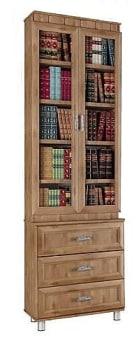 """כוננית ספרים עם קרניז מעוטר, 2 דלתות ו-3 מגירות על במה, עשויי עץ סנדביץ דגם  EROPA  , לספרים, לקלסרים או לכל מטרה אחרת,  הארון ספרים בעל 2 דלתות עליונות זכוכית, ו -3 מגירות תחתונות, בגימור פורמיקה במבחר גוונים.  גוף הארון עשוי עץ סנדוויץ, החזיתות עשויות  MDF  .  מרכיבי הארון ספרים עשויים מחומרים בעלי תו תקן ישראלי.  מידות חיצוניות:  רוחב 80 ס""""מ, גובה 244 ס""""מ, עומק הכוננית התחתונה 40 ס""""מ, הספרייה 30 ס""""מ.  ניתן לבחור מדפים עשויים  MDF  בעובי 28 מ""""מ (מומלץ) או עץ סנדוויץ בעובי 17 מ""""מ. (בשדרוג למדפי  MDF  יוחלפו רק המדפים הניידים).  הידיות בתמונה להמחשה בלבד, יסופק עם ידיות שבמלאי.  ניתן לשדרג את  הידיות  בתשלום."""