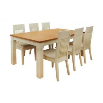 """פינת אוכל הכוללת שולחן בוק מלבני נפתח לאורך 260 דגם  SAPIR  .  השולחן עשוי עץ בוק מלא בגוון אלון ושמנת.  פינת האוכל כוללת 6 כסאות עשויים עץ בוק מסיבי בגוון שמנת.  ריפוד הכסאות עשוי בד דמוי עור איכותי בגוון שמנת.  מידות השולחן:  100X180 ס""""מ נפתח לאורך 260 ס""""מ  מיוצר באיטליה.  ניתן להזמין כסאות נוספים בתוספת מחיר."""