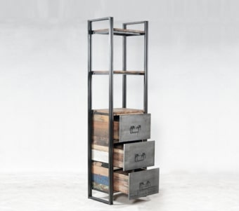 """ספרית מדפים ומגירות בשילוב עץ ממוחזר וברזל רוחב: 40 ס""""מ אורך: 60 ס""""מ גובה: 210 ס""""מ"""