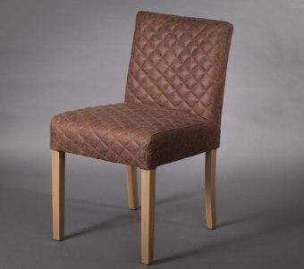 כסא לפינת אוכל עם ריפוד עור ממוחזר בצבע חום