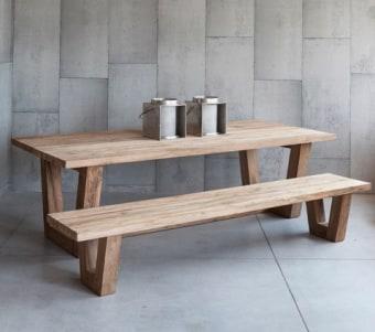 """ספסל מעץ ממוחזר מלא רוחב: 40 ס""""מ אורך: 250 ס""""מ גובה: 45 ס""""מ"""