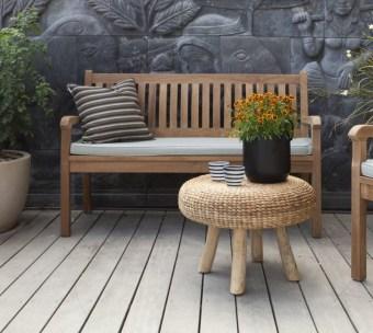 """ספסל עם כרית מעץ טיק מלא אורך: 150 ס""""מ"""