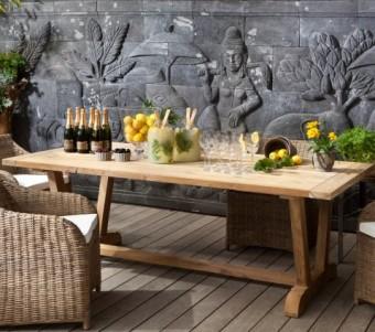 """שולחן אוכל מעץ טיק מלא V-Leg רוחב: 105 ס""""מ אורך: 220 ס""""מ"""