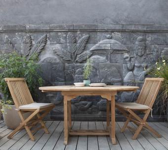 """שולחן אוכל אובלי נפתח לגינה עשוי מעץ טיק מלא רוחב: 90 ס""""מ אורך: 150/200 ס""""מ גובה: 78 ס""""מ"""