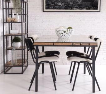 """שולחן אוכל עשוי עץ טיק וברזל ממוחזר רוחב: 100 ס""""מ אורך: 200 ס""""מ"""