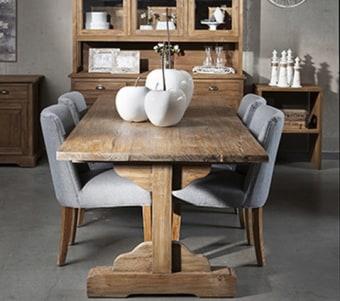 """שולחן אוכל מעץ טיק ממוחזר מלא עם פלטה 4 ס""""מ רוחב: 100 ס""""מ אורך: 220 ס""""מ גובה: 77 ס""""מ"""