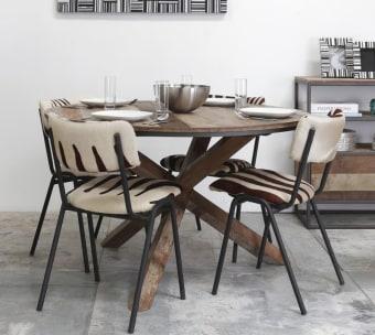 """שולחן אוכל עגול מעץ מלא ממוחזר אורך: 130 ס""""מ גובה: 78 ס""""מ"""
