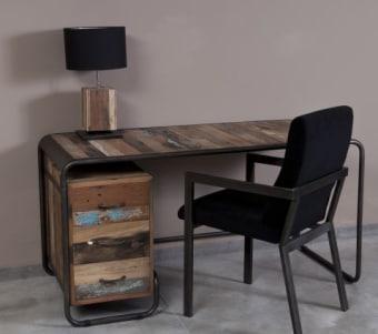 """שולחן עבודה מעץ ממוחזר עם יחידת מגירות רוחב: 70 ס""""מ אורך: 150 ס""""מ גובה: 76 ס""""מ"""