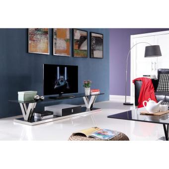 """מזנון TV-1011  מראה מודרני ונקי .  בסיס מפלדת אל חלד, זכוכית מחוסמת .  גוון מבריק  200* 50 ס""""מ גובה 42 ס""""מ"""