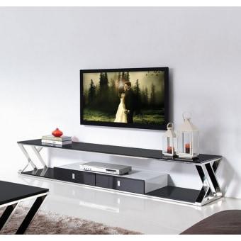 """מזנון TV-1020  מראה מודרני ונקי .  בסיס מפלדת אל חלד, זכוכית מחוסמת.  גוון מבריק  200* 50 ס""""מ גובה37 ס""""מ"""
