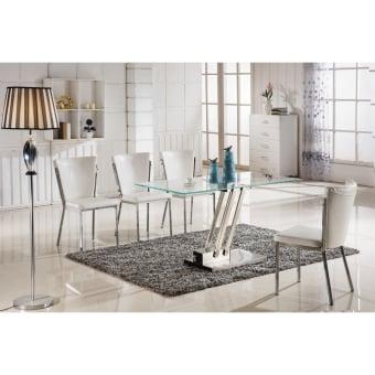 """שולחן זכוכית  זכוכית מחוסמת, רגליים פלדת אלחלד.  סגנון מודרני ונקי.  מידות  :  135 ס""""מ רוחב  עומק 70 ס""""מ  גובה 75 ס""""מ"""