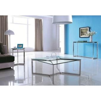 """שולחן סלון מעוצב CJ-1041.  מראה מודרני ונקי .  בסיס מפלדת אל חלד, זכוכית מחוסמת.  גוון מבריק  90ס""""מ * 90 ס""""מ  גובה 41 ס""""מ"""