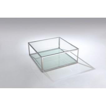 """שולחן סלון מעוצב CJ-1076.  מראה מודרני ונקי .  בסיס מפלדת אל חלד, זכוכית מחוסמת.  גוון מבריק  אורך 100 ס""""מ  רוחב 100 ס""""מ  גובה 40 ס""""מ"""