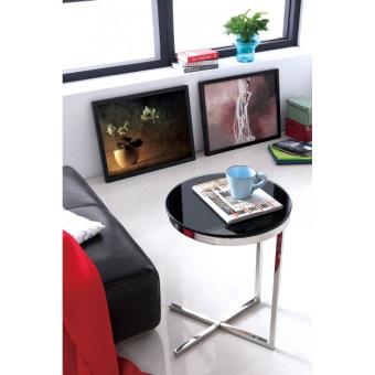 """שולחן צד JJ-1017  מראה מודרני ונקי .  בסיס מפלדת אל חלד, זכוכית מחוסמת.  גוון מבריק  קוטר 45 ס""""מ גובה 60 ס""""מ"""
