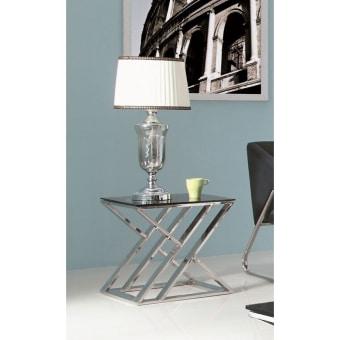 """שולחן צד JJ-1032  מראה מודרני ונקי .  בסיס מפלדת אל חלד, זכוכית מחוסמת.  גוון מבריק  50* 50 ס""""מ גובה 51 ס""""מ"""