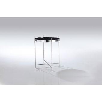 """שולחן צד JJ-1061  מראה מודרני ונקי .  בסיס מפלדת אל חלד, זכוכית מחוסמת.  גוון מבריק  קוטר 45 ס""""מ גובה 60"""