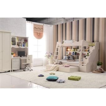 """H11  מיטת קומותיים איכותית מבית היבואנים  הגשימו לילדכם חדר חלומי !!!  המיטה בנוייה מ  MDF  עם חיזוקי עץ מלא .חשוב לדעת שזה לא סיבית (שביבי עץ נוטים להתפורר)  ניתן לקבל עם המיטה גם מיטת חבר וגם מדרגות המשמשות לאחסנה  מידות ברוטו  מיטה אורך  198.2  ס""""מ –רוחב  1260  גובה 170 ס""""מ  מדרגות רוחב 40.5ס""""מ * עומק 124ס""""מ * 160ס""""מ גובה  ארון שלוש דלתות רוחב 130.8ס""""מ * עומק 58.7ס""""מ * 216.7ס""""מ גובה  ארון ארבע דלתות רוחב 175.8ס""""מ * עומק 59ס""""מ * 220ס""""מ גובה  ספרייה רוחב 120ס""""מ * עומק 60ס""""מ * 194ס""""מ גובה  כיסא 420*480*900  מזרנים מיטה 120*190 /מיטה עליונה 90*190 מיטת חבר 90*190 עובי 5 ס""""מ  מבחר מזרנים אורטפדים למידע צור קשר עם נציג החברה"""