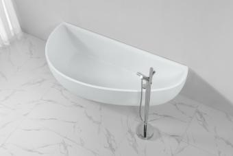 אמבטיה אבן מלאכותית סהר צמודת קיר      צבע: לבן מט      גודל: 180*78      גובה: 57