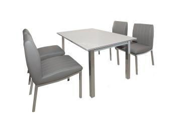 """מגיע בצבעים: לבן\אפור 400X1200+400 שולחן + 4 כסאות שולחן איכותי מודרני המשלב זכוכית מחוסמת + רגלי ניקל * יתכנו שינויים בגוון, בין התמונה למוצר המוחשי * יתכנו שינויים במידות, סטיה של עד 5 ס""""מ * מהיבואן לצרכן"""