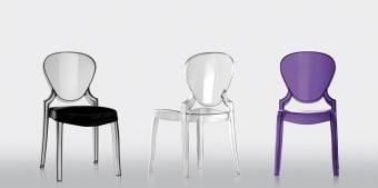 כסא פינת אוכל שקוף Queen  כסא פינת אוכל שקוף עיצוב בהשראת סגנון הבארוק