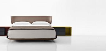מיטה זוגית בעיצוב מודרני ועדין  מרופדת בעור איטלקי רך ואיכותי במספר גוונים לבחירה