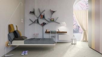 מיטה מרחפת איטלקית, בעיצוב מודרני, הנראית כאילו היא מרחפת באוויר  מבית Lago איטליה
