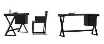 שולחן כתיבה בסגנון קלאסי Betty  שולחן כתיבה בסגנון קלאסי העשוי מעץ אלון מלא בציפוי צבע שחור פחם