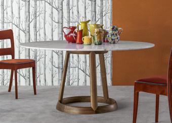שולחן פינת אוכל עגול Greeny  שולחן פינת אוכל עגול/אליפטי בעל רגל מהודרת ופלטת שיש