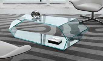 שולחן סלון / קפה זכוכית מודרני Dekon 2  שולחן סלוני פיסולי מזכוכית בעיצובו של קארים ראשיד