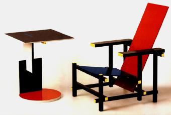 שולחן צד קלאסי 634 Schroeder 1 בעיצובו של Gerrit T. Rietveld  שולחן צד עץ צבעוני שזכה למעמד אייקוני
