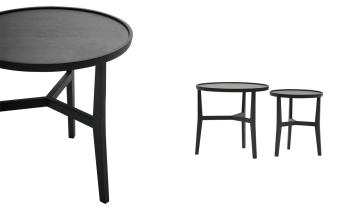 שולחן צד כהה ואלגנטי Lark  שולחן צד אלגנטי עשוי עץ אלון מלא בציפוי פורניר בצבע אפור פחם