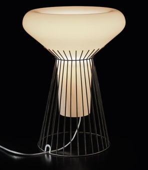 Table lamp with diffused light. Large  hand-blown cased glass diffuser, white on  the inside and tinted on the outside, with  glossy finish. The cage is made of  hand-welded steel rods coated with matt  brown powder paint and finished with  hand-brushed bronze colour paint, to  emphasise the vintage look. The base is  fitted with polyethylene scratch-resistant  feet. Diesel logo on the mount cable outlet.  Transparent cable with dimmer, for gradual  adjustment of brightness.