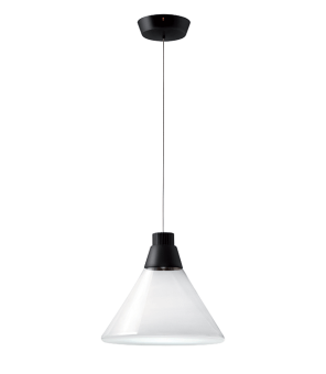 Polair captures the light's magic and was created with the intention of providing an almost physical presence to its invisible rays.  The glass traces the shape of the beam, creating an extremely soft and delicate lighting quality, excellent for giving the right atmosphere to a room. The lighting angle is perfectly designed to meet the diffuser which then emphasizes the reflections, creating fluctuating emotions.  Polair is a transparent pendant lamp with elegant detailing in sandblasted glass, ideal for enhancing any indoor living area, in the home or workplace.