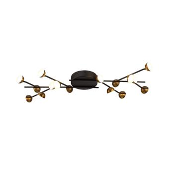 גוף תאורה דגם נטיפים צמוד תקרה, שילוב מיוחד של פליז ושחור לד מובנה