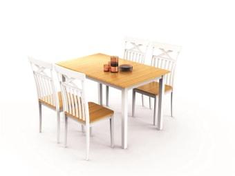 """הגיע הזמן לחדש את פינת האוכל! דגם 'טקסס'  מספק חוויה מושלמת לארוחות משפחתיות- בוקר, צהרים, ערב וגם לנשנוש של שעת בין ערביים.  פינת אוכל בצבע לבן קרמי בשילוב גוון עץ טבעי איכותי בסגנון מודרני. מגיעה עם 4 כיסאות תואמים. השולחן עשוי עץ מלא לאיכות בלתי מתפשרת.   מידות שולחן בס""""מ: א' 120, ר' 75, ג' 75"""