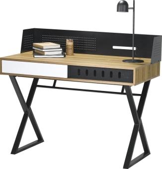 """שולחן כתיבה בעיצוב חדשני בעל מבנה משולב מתכת עם פלטת עץ  מידות חיצוניות בס""""מ: ר' 110, ע' 56.6, ג' 94.5."""