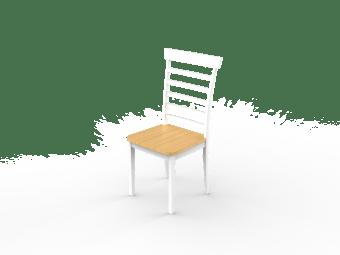 """כיסא לפינת אוכל דגם 'אנגליה' . הכיסא בגוון לבן בשילוב אלון. הכיסא עשוי עץ מלא במראה מרשים.  מידות חיצוניות בס""""מ: א' 40, ג' 93.5, ג' 40"""