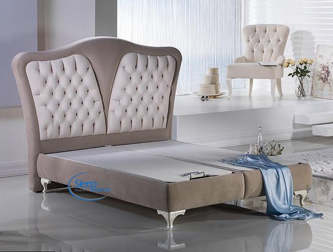 מיטת זוגית מרופדת + ארגז מצעים + ראש מיטה דגם DIAMOND